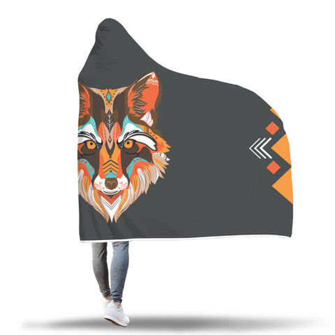 Awesome Tribal Wolf Hooded Blanket