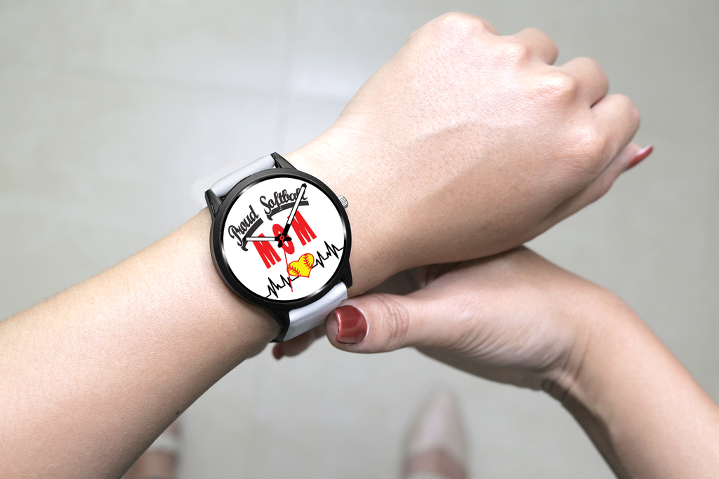 Proud Softball Mom Heartbeat Watch