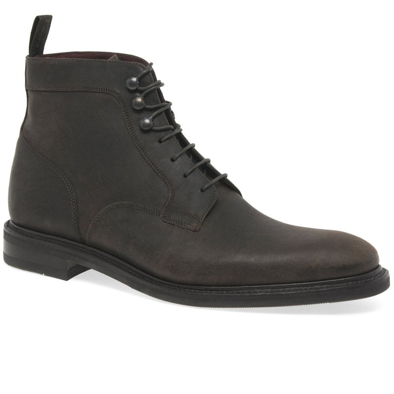 Loake Crow Calf Derby Waxed Suede Boot - Dark Brown - Lucks of Louth