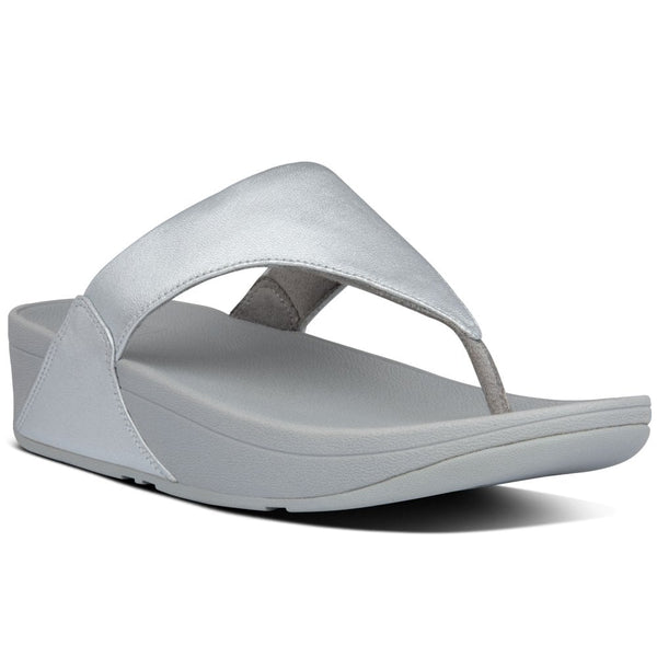 Fitflop Lulu Leather Toe-Post Sandal - Silver - Lucks of Louth