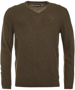 Barbour Essential Lambswool V Neck Jumper - Olive Marl - Lucks of Louth