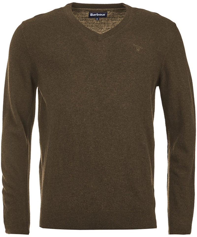 Barbour Essential Lambswool V Neck Jumper - Olive Marl