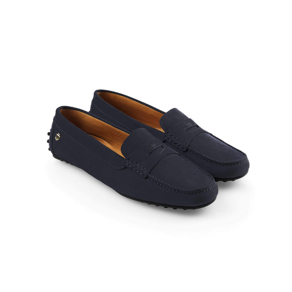 Fairfax & Favor Ladies Nubuck Hemsby Driver Shoe - Navy Blue - Lucks of Louth
