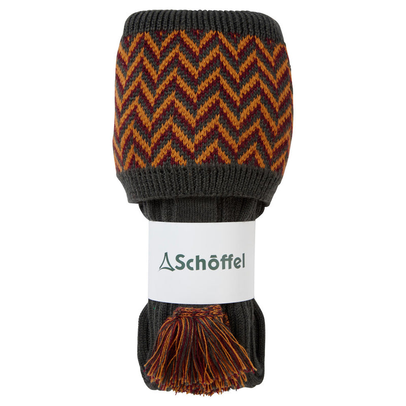 Schoffel Herringbone Shooting Sock - Forest/Ochre/Mulberry - Lucks of Louth