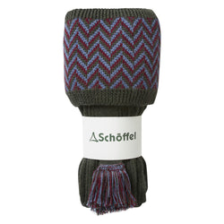 Schoffel Herringbone Shooting Sock - Forest/Claret/Denim - Lucks of Louth
