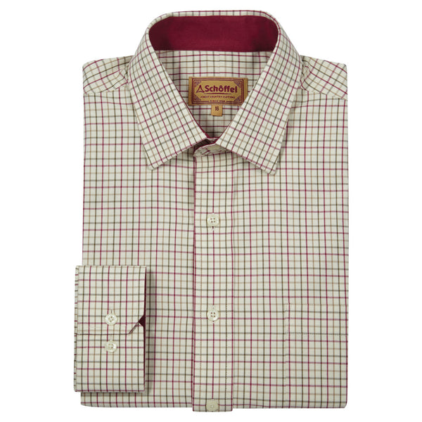 Schoffel Burnham Tattersall Classic Shirt - Red/Green Check - Lucks of Louth