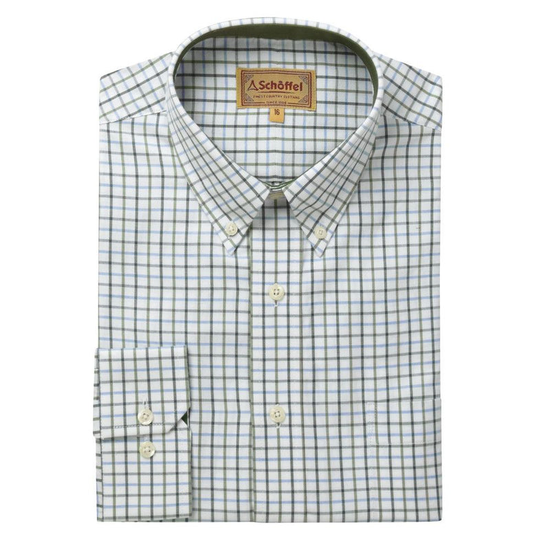 Schoffel Banbury Shirt - Blue/Olive Check - Lucks of Louth