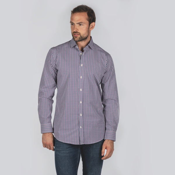 Schoffel Hebden Tailored Shirt - Navy/Purple - Lucks of Louth