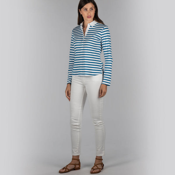 Schoffel Sunny Cove Shirt - Mykonos Blue Stripe - Lucks of Louth