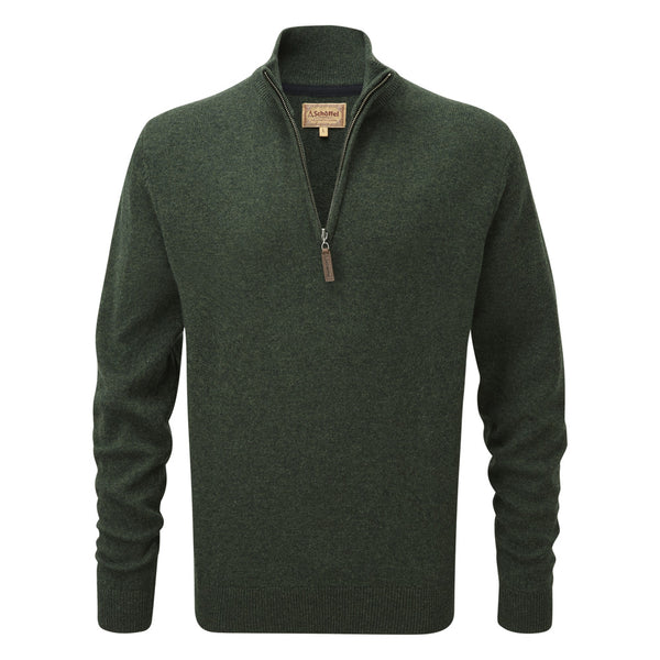 Schoffel Lambswool 1/4 Zip Jumper - Forest