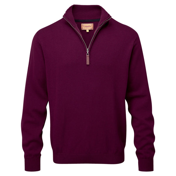 Schoffel Cotton Cashmere 1/4 Zip Jumper - Fig - Lucks of Louth