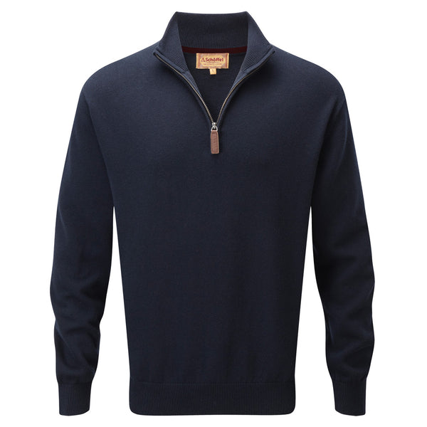 Schoffel Cotton Cashmere 1/4 Zip Jumper - Navy Blue