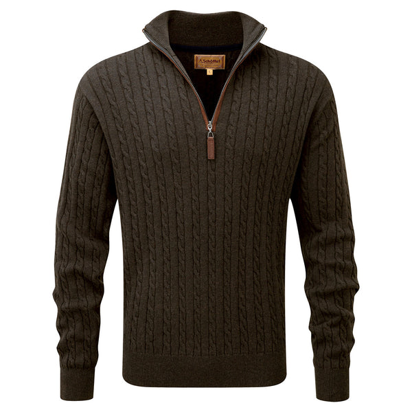 Schoffel Cotton Cashmere Cable 1/4 Zip Jumper - Loden Green - Lucks of Louth