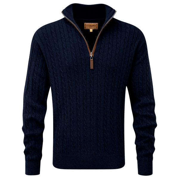 Schoffel Cotton Cashmere Cable 1/4 Zip Jumper - Navy - Lucks of Louth