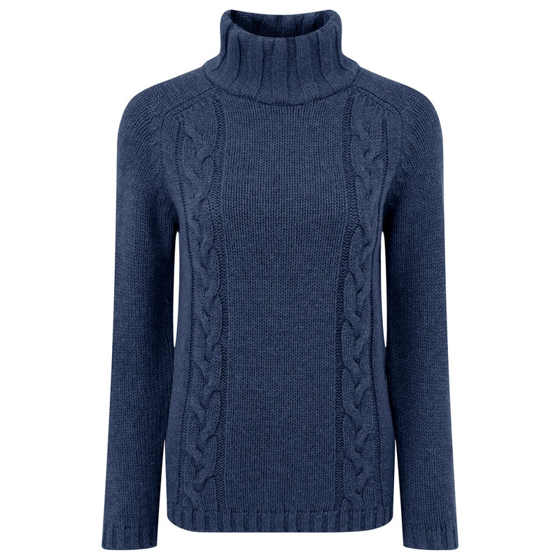 Schoffel Merino Cable Roll Neck Jumper - Navy - Lucks of Louth