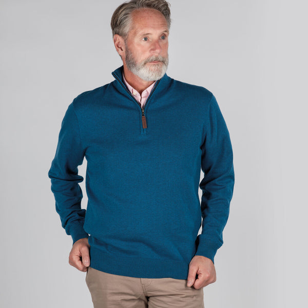 Schoffel Pima Cotton 1/4 Zip - Mykonos Blue - Lucks of Louth