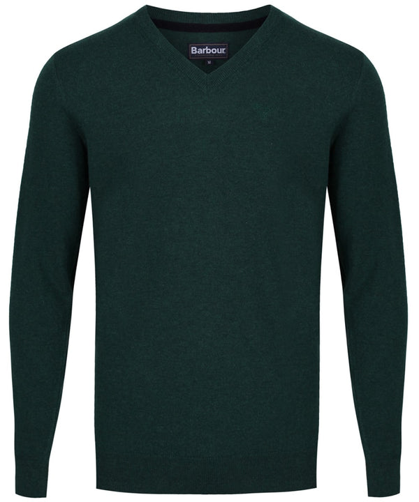 Barbour Essential Lambswool V Neck - Bottle Green - Lucks of Louth