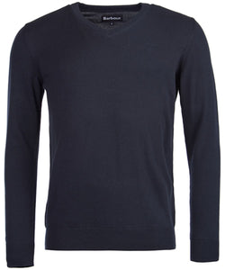 Barbour Pima Cotton V-Neck Jumper - Navy - Lucks of Louth
