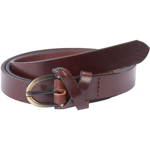 Barbour Ladies Cross Over Leather Belt - Dark Brown - Lucks of Louth