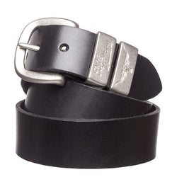 RM Williams Solid Hide Work Belt - Black (Antique Silver) - Lucks of Louth