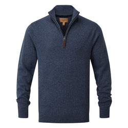 Schoffel Cotton Cashmere 1/4 Zip Jumper - Dark Denim - Lucks of Louth