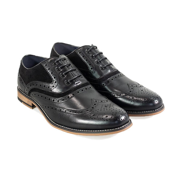 Cavani Ethan Brogue Shoes - Black - Lucks of Louth