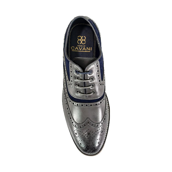 Cavani Ethan Brogue Shoes - Grey - Lucks of Louth