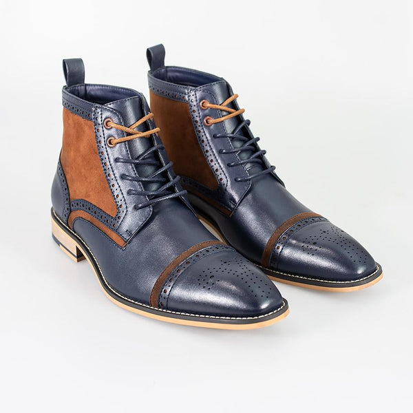 Cavani Moderna Lace Up Boots - Navy - Lucks of Louth