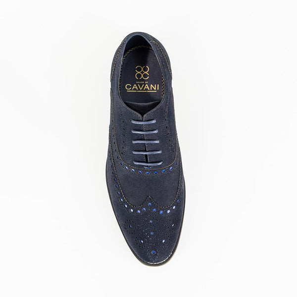 Cavani Mortimer Suede Brogue Shoe - Navy - Lucks of Louth