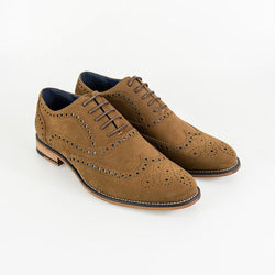 Cavani Mortimer Suede Brogue Shoe - Tan - Lucks of Louth