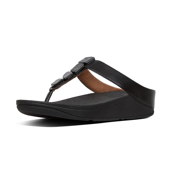 Fitflop Fino Shellstone Sandal - Black - Lucks of Louth