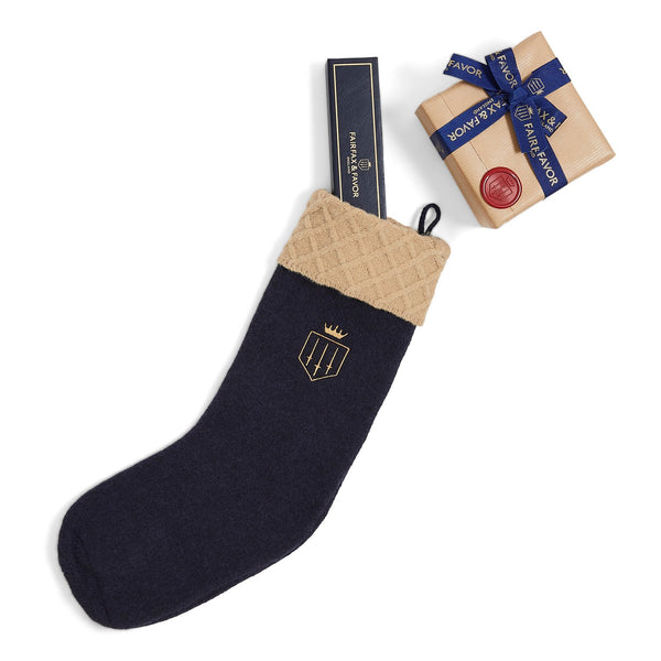 Fairfax & Favor knitted Christmas Stocking - Navy Blue - Lucks of Louth