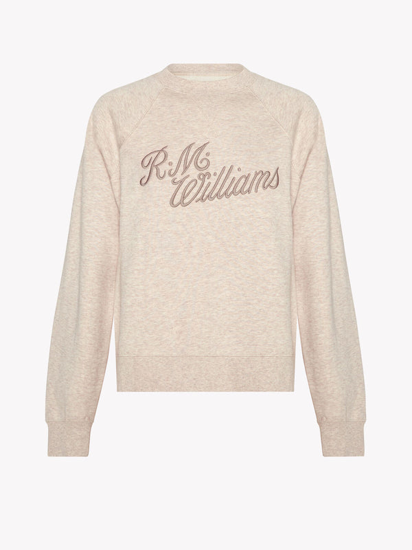RM Williams Script Crew Neck Sweater - Blush - Lucks of Louth