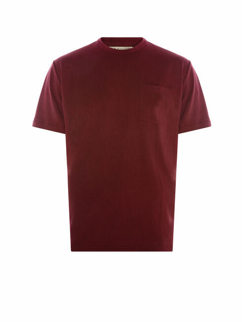 RM Williams Whitemore Pocket T-shirt Burgundy - Lucks of Louth