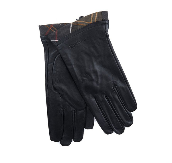 Barbour Tartan Trimmed Leather Gloves - Black - Lucks of Louth