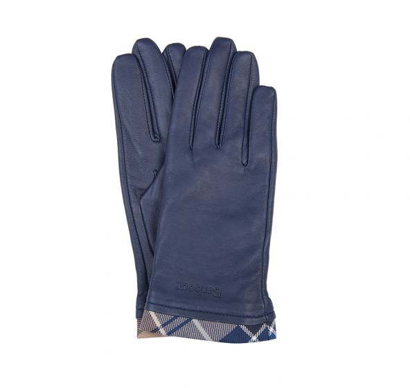 Barbour Tartan Trimmed Leather Gloves - Navy - Lucks of Louth