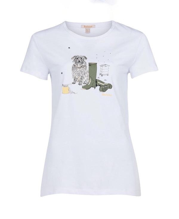 Barbour Rowen Tee - White - Lucks of Louth