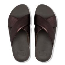 Fitflop Lulu Leather Cross Slide Sandals - Chocolate Metallic - Lucks of Louth
