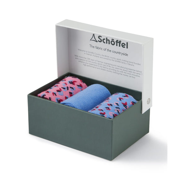 Ladies Bamboo Sock (Box of 3) - Blue Mix - Lucks of Louth