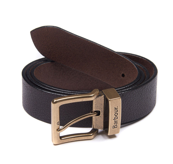 Barbour Blakely Leather Belt - Dark Brown - Lucks of Louth