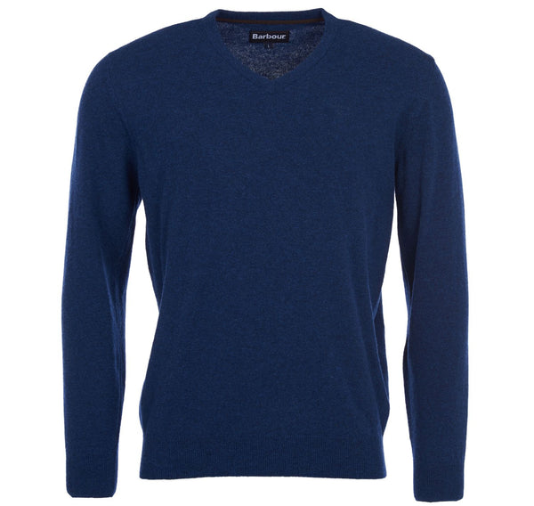 Barbour Essential Lambswool V Neck Jumper - Deep Blue - Lucks of Louth