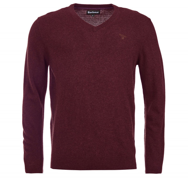 Barbour Essential Lambswool V Neck Jumper - Merlot - Lucks of Louth