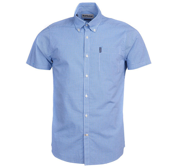 Barbour Gingham 17 Tailored Short Sleeve Shirt - Aqua Blue - Lucks of Louth