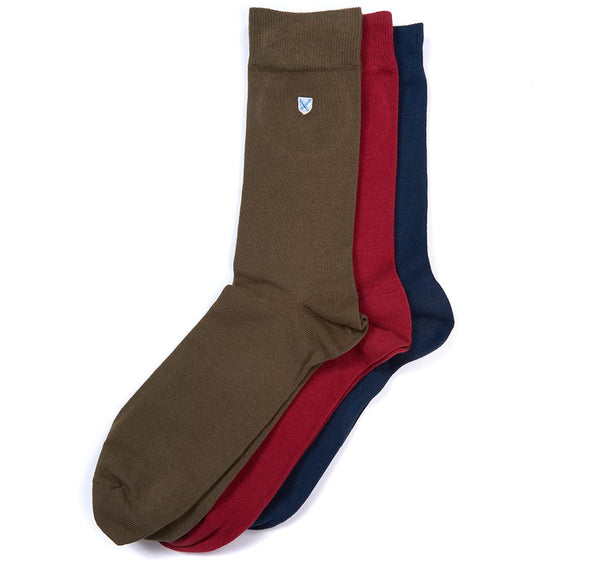 Barbour Saltire Sock 3 Pack - Navy/Lobster Red/Olive - Lucks of Louth