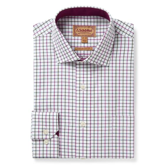 Schoffel Milton Tailored Shirt - Pink/Olive Check - Lucks of Louth