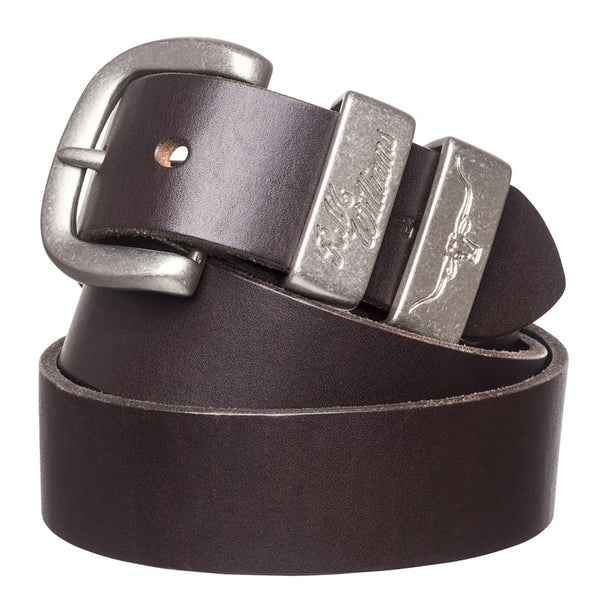 RM Williams Solid Hide Work Belt - Brown (Antique Silver) - Lucks of Louth