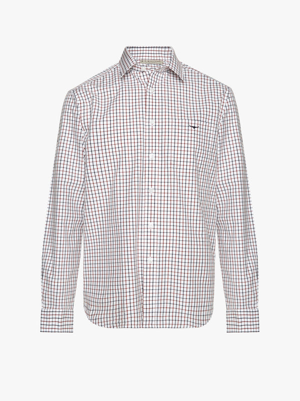 RM Williams Collins Shirt - White/Blue/Rust - Lucks of Louth