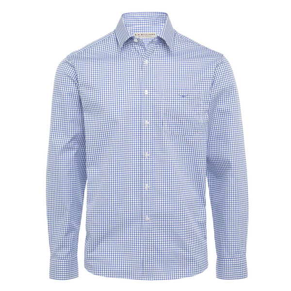 RM Williams Collins Long Sleeve Shirt- Royal Blue Check - Lucks of Louth