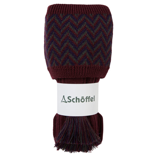 Schoffel Herringbone Shooting Sock - Mulberry/Aubergine/Forest - Lucks of Louth