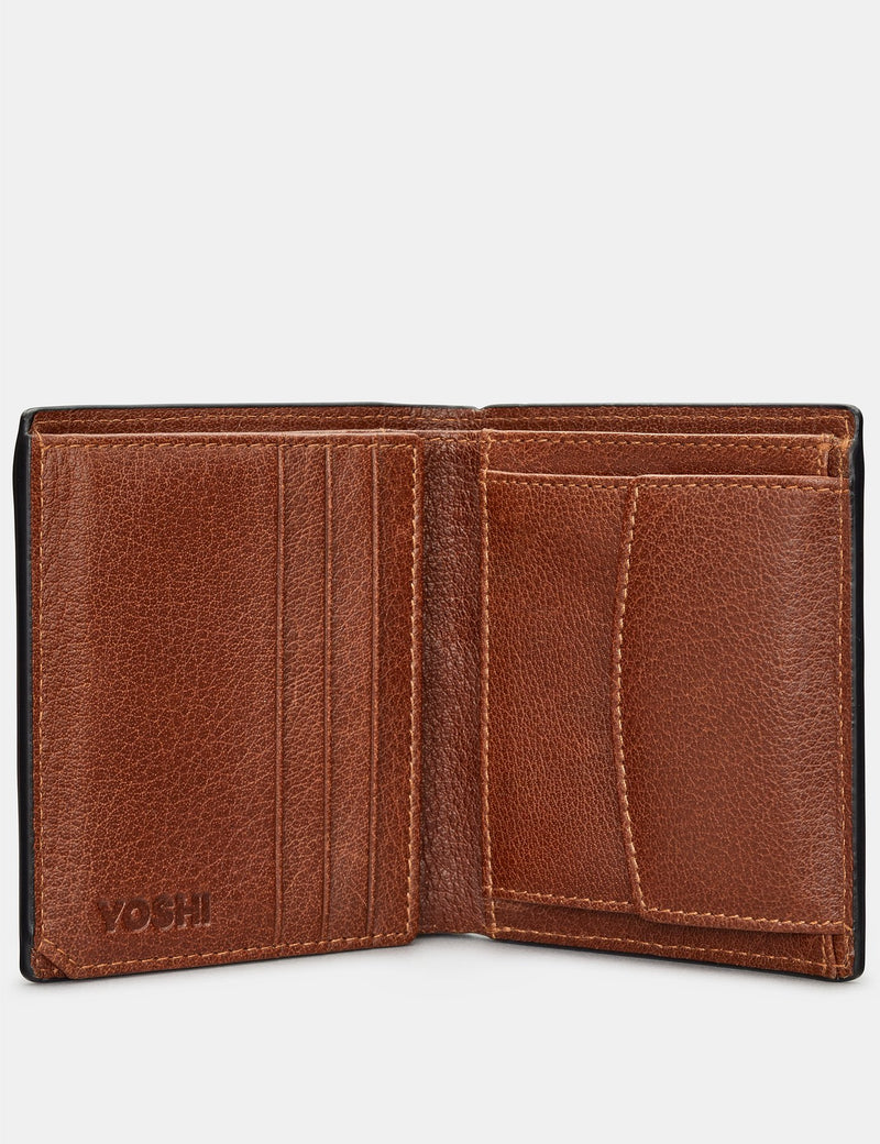 Yoshi Mens Two Fold Leather Coin Pocket Wallet - Brown (Y2035 17 8) - Lucks of Louth